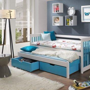 Siri 2 Vollholz Kinderbett für 2 Personen mit ausziehbarem Bett und Bettkasten